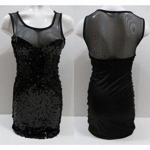 Bailey Blue dress Medium black mesh panel sequined